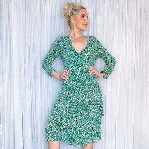 BCBGMaxAzria Dresses - BCBG Green Wrap Tie Midi Dress